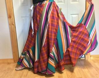 Long Maxi Plus Size Sweep Skirt/Hippie/Bohemian/Gypsy/Boho/Colorful/Plaid/Striped/Purple/Orange/Cotton/Long Skirts for Women/Size 2X