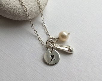 Sterling Silver Personalized Ballet Shoe Necklace - Personalize silver necklace, Ballet Shoe Necklace