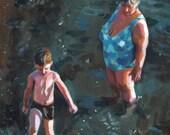 Swim at the beach with Grandma 3- grandmother- original painting -acrylic painting - sea painting - people painting - ART PORTRAIT