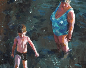 Swim at the beach with Grandma 3- grandmother- original painting -acrylic painting - sea painting - people painting - ART PORTRAIT