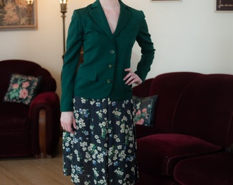 Vintage 1940s Jacket - Stylish Forest Green Wool Gabardine 40s Jacket with Pockets