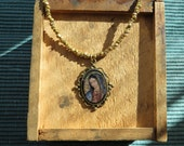 Beloved GUADALUPE Pendant on a Vintage Strand of Gold Beads- lovely and unique from MARIPOSAFUERTE