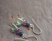 Jade, Amethyst and Fluorite Earrings