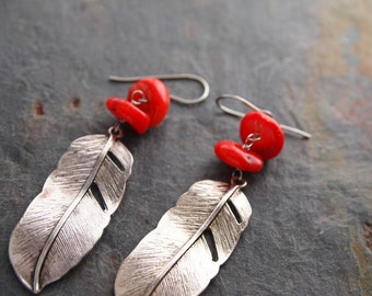 Coral and Feather Earrings