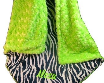 Kiwi Lime Green and Black Zebra Minky Baby Blanket, 3 SizesCan Be Personalized