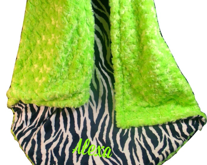 Kiwi Lime Green and Black Zebra Minky Baby Blanket, 3 Sizes