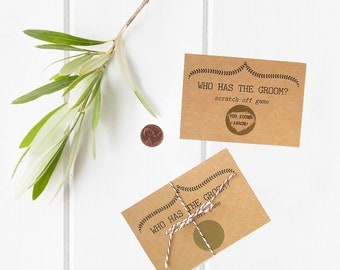 Who Has the Groom Game - Scratch Off Bridal Shower Game - Funny Bridal Shower Games - Custom Bridal Shower Game - Gold Scratch Off Card Game