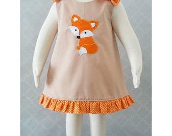 Girls Fox Dress, Fox A line Dress, Fox Outfit, Baby Fox Dress, Fall Baby Dress, 1st Birthday Fox Dress, Fox Jumper Size 6-12M Ready to Ship