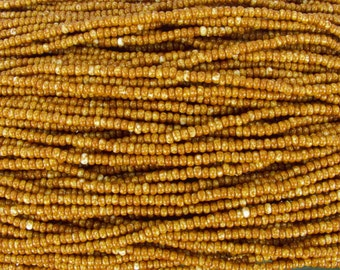 8/0 Opaque Caramel Picasso Czech Glass Seed Bead Strand (CW6)