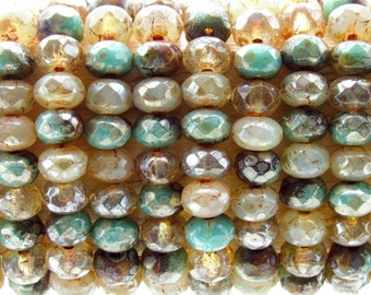 5x3mm Faceted Sea Cliffs Silver Picasso Mix Firepolish Czech Glass Rondell Beads - Qty 30 (BS467)