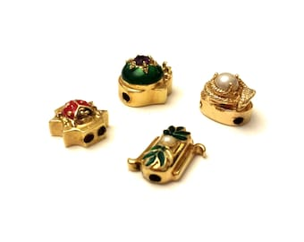 14k Gold Slide Charms, Victorian Charms, Gold Enamel & Gemstones, Michel Cazin Jewelry French Victorian Jewelry, Antique Fine Jewelry Charms