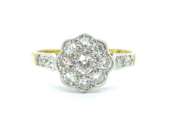 Antique diamond cluster Engagement ring 18ct Platinum Millegrain Old cut daisy halo Flower 1920's Edwardian wedding Anniversary*FREE SHIP