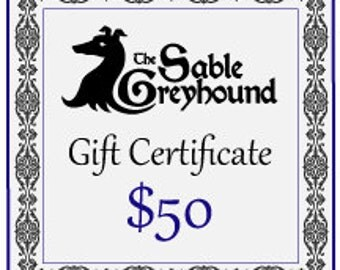 GIFT CERTIFICATE -- 50 dollars
