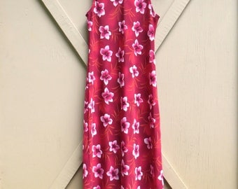 90s vintage Deep Red Floral Print Sleeveless Maxi Dress / New Clothing Co