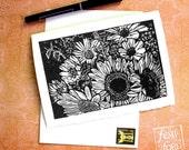 Sunflower Bouquet Linocut Card & Envelope
