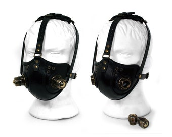 "STEAMPUNK LEATHER Mask black leather Respirator Raider Double ""S"" Filters"