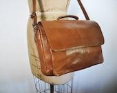 UNISEX Brown Leather Satchel Purse / iPad bag