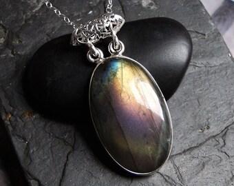 """Labradorite Necklace, BIG Labradorite, Long Necklace, Sterling Silver - """"Nebula"""" by CircesHouse on Etsy"""
