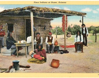 Vintage Arizona Postcard - Pima Indians at Home (Unused)