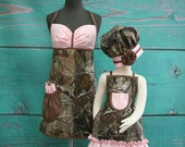 Mother/Daughter Matching Aprons - Real Tree Hunting Camo - Pink, Brown and Green