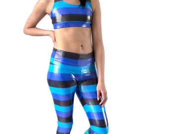 SALE. Blue Striped Leggings, Activewear