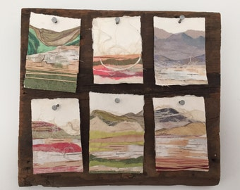 Collaged landscape series on reclaimed barn wood wall art