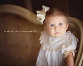 Baby Dedication Heirloom White Dress Picture Panel with Monogrammed Collar Ecru Lace and Pin Tucks