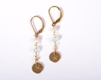 Gold Starfish, Gold Starfish Jewelry, Starfish Jewelry, Beach Jewelry, Gemstone Earrings, Long Gemstone Earrings, Summer Jewelry, Earrings