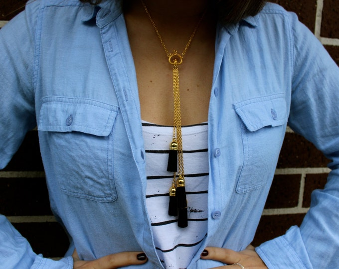Gold and Black Leather Tassel Necklace