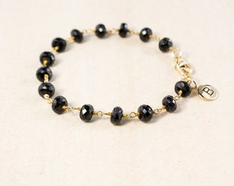 Black Onyx Bracelet – Add Your Initial Charm