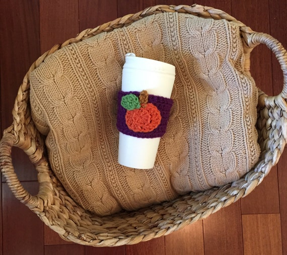 crochet coffee cozy crochet cozy with pumpkin coffee by ...