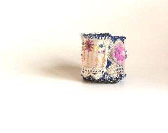 Fiber Art Cuff Bracelet, Upcycled Jewelry, Artsy Bracelet, Mixed Media, Flower Power, Garden Party