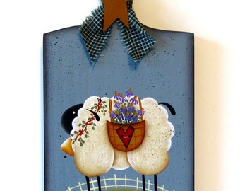 Sheep on Bread Board, Handpainted Wood Sign, Hand Painted Home Decor, Wall Art, Tole Decorative Painting