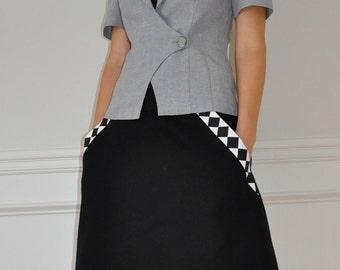 Sale 10% Off - Black Cotton / Black White Check Twill Pockets A-Line Skirt S, M, L