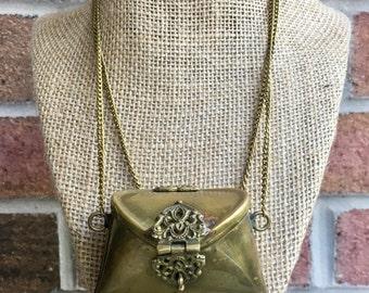 Bronze Mini Purse Necklace Filigree Clasp Extra Long Chain Doubles Keepsake for Lucky Tokens Love Notes Perfume Sachet Victorian Renaissance