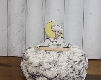 Happy 1st Birthday Cake Topper/Name/Lamb/Moon/Personalized/Party Decor/Cake Decor/Cake Decor/Birthday/Happy Birthday