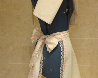 Handmade Natural Calico Cotton and Pink Machine Embroidered and Lace Half Apron and Matching Kitchen Tea Towel Set Alice in Wonderland Style
