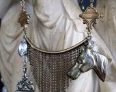 necklace - hunt - vintage horse medal fringe watch fob green glass bezel link chain rhinestone equestrian