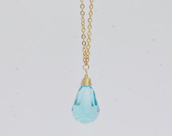 Aqua Blue Long Crystal Necklace - clear blue swarovski crystal faceted teardrop pendant on long sparkling gold plated chain