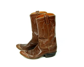 Good Ol' Pair of Tony Lama Cowgirl Boots, Rich Brown Textured Leather with Capped Toe