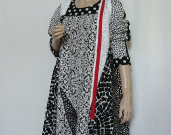 XL to 1X  Black White Dress with Long Vest