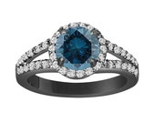 Fancy Blue Diamond Engagement Ring 1.89 Carat 14K Black Gold Vintage Style Certified Handmade Halo Pave