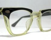 Vintage EyeGlasses Mens 50s Horn Rim Safety Frames.  Black and Clear with lenses