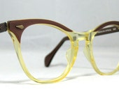Vintage 60s Classic American Optical Cat Eye Glasses. Taupe and Clear