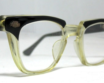 Vintage EyeGlasses Mens 50s Horn Rim Safety Frames.  Black and Clear with lenses