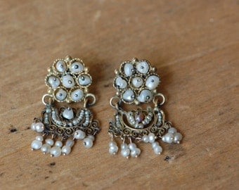 Antique Mexican gold and pearl filigree wedding earrings