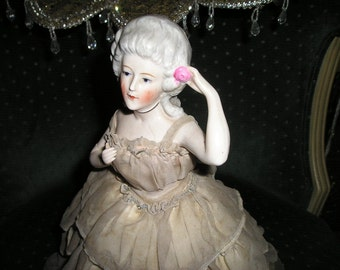 Vintage Chic French Boudoir/Cage Dresser Doll Madam Pompadour Original Gown,Glamorous Shabby Old Figure.
