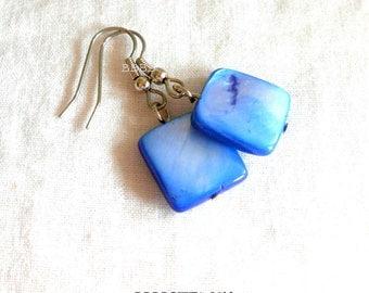 Blue Earrings Square Earrings Shell Earrings Mother of Pearl Earrings Surgical Steel Earrings Beaded Earrings