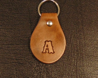Leather Key Fob with Initial