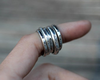 Stamped & Hammered Stacking  / Knuckle / Pinky Ring. Sterling Silver. Your Size.